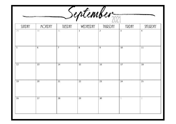September Calendar 2021 Tamil