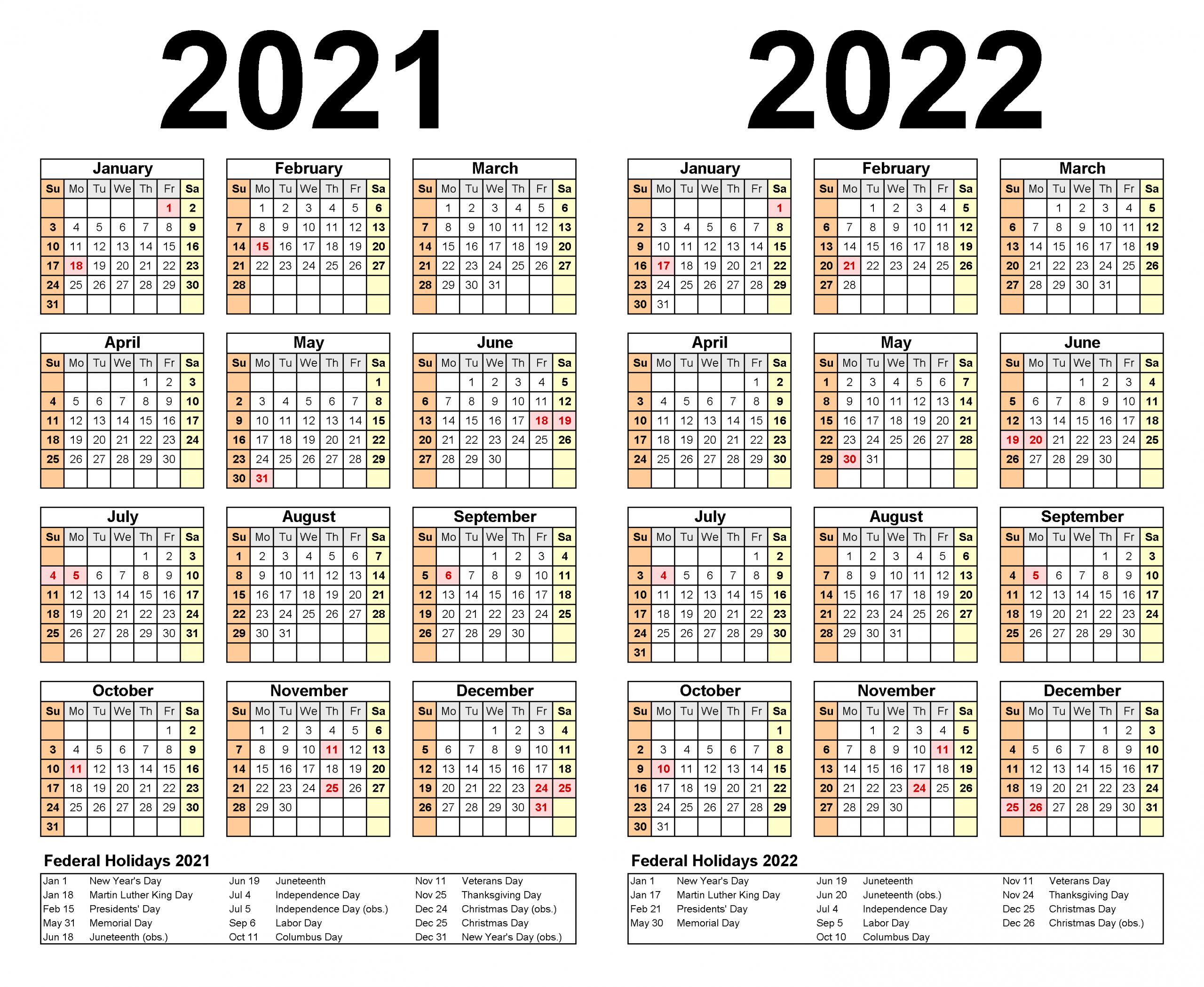 2021 and 2022 academic calendar excel