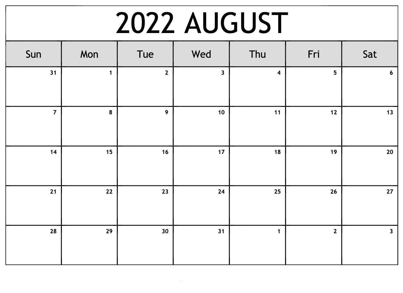 2022 Calendar Template Download