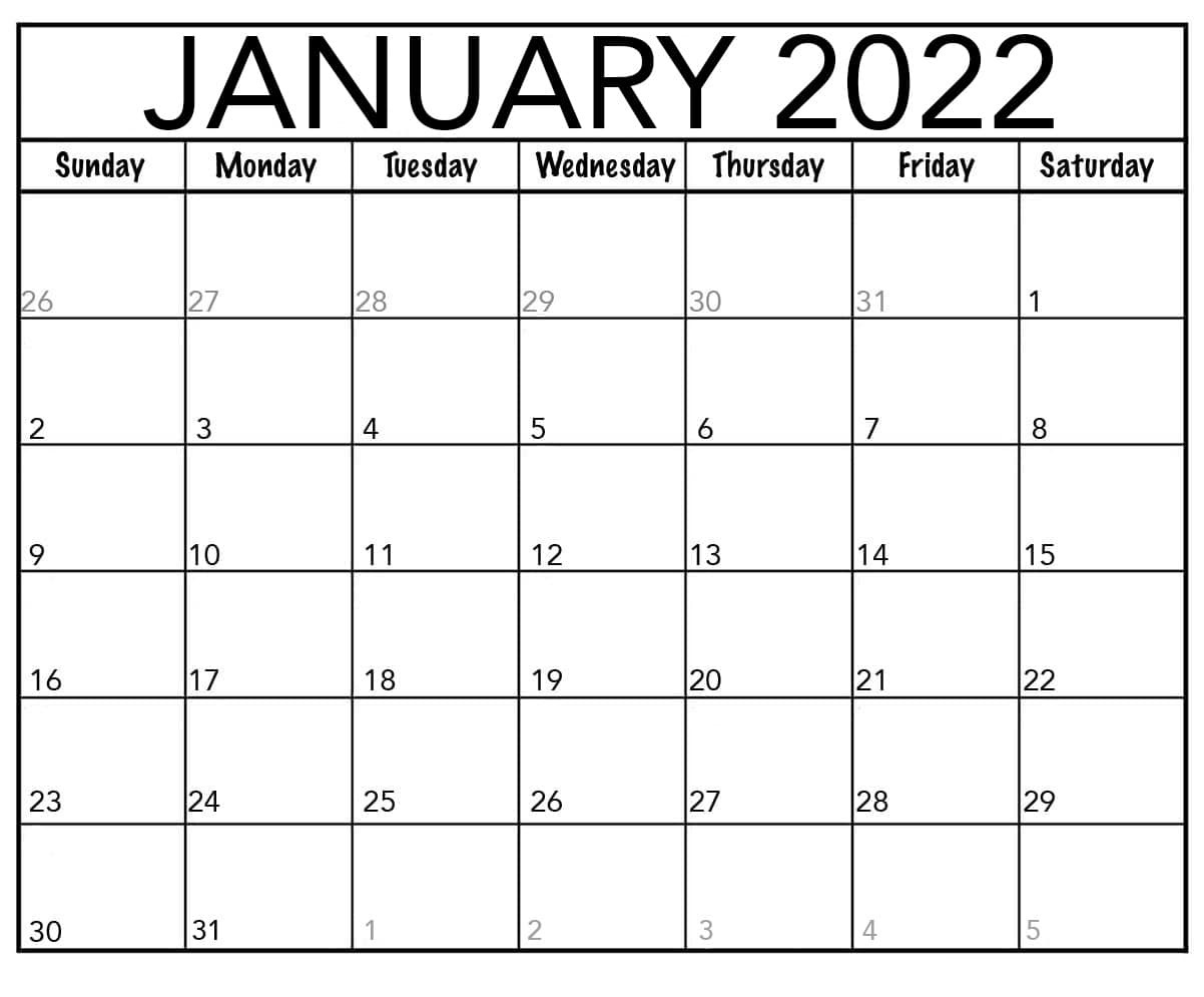 2022 Calendar UK Printable