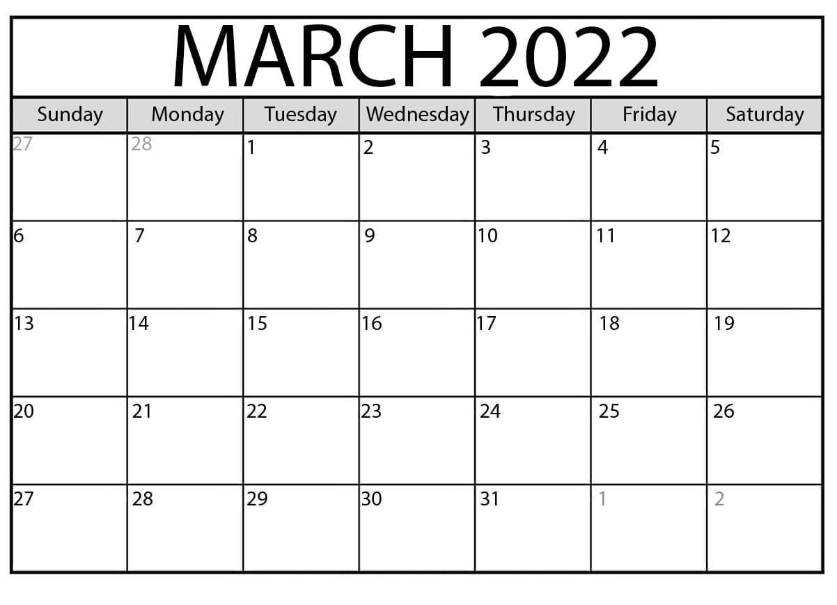2022 Free Calendar Template