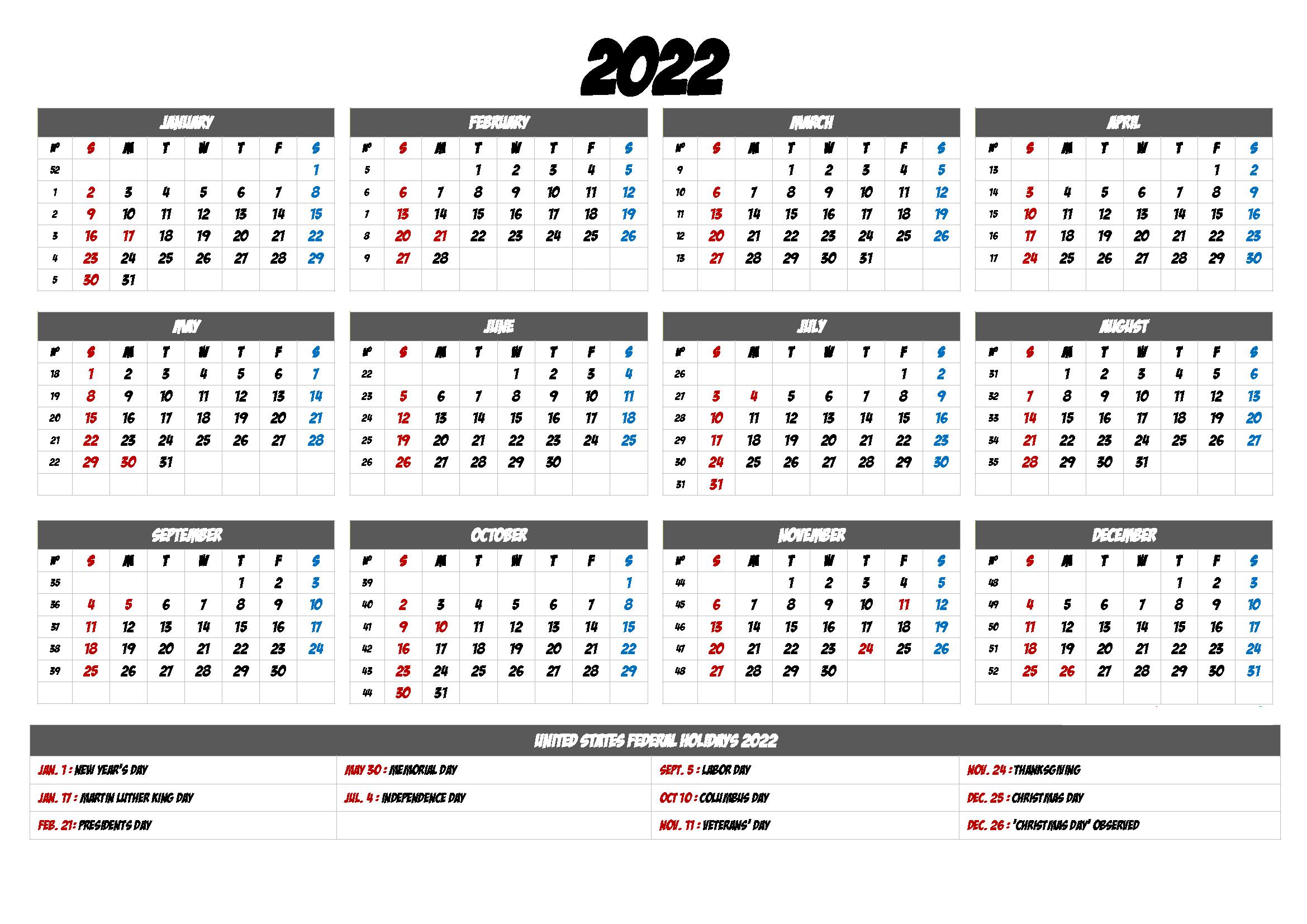 2022 Google Sheet Calendar Template