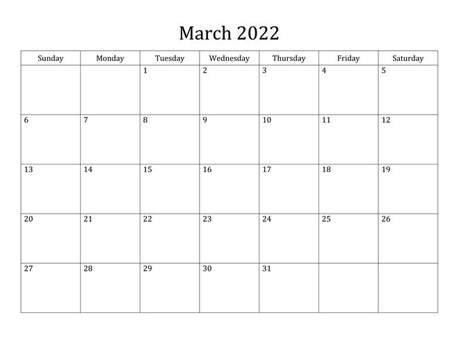 2022 Monthly Calendar Excel