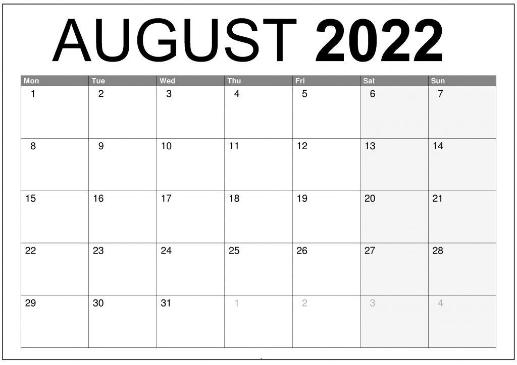 2022 Monthly Calendar Printable Word