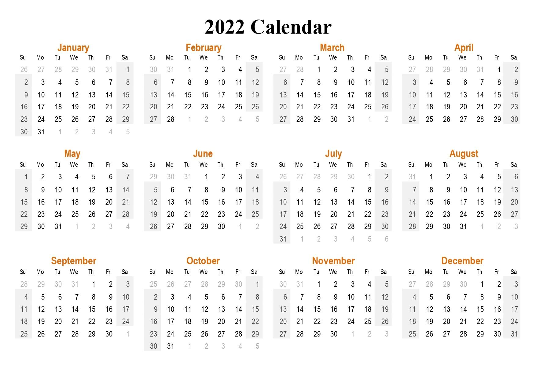 2022 Monthly Calendar