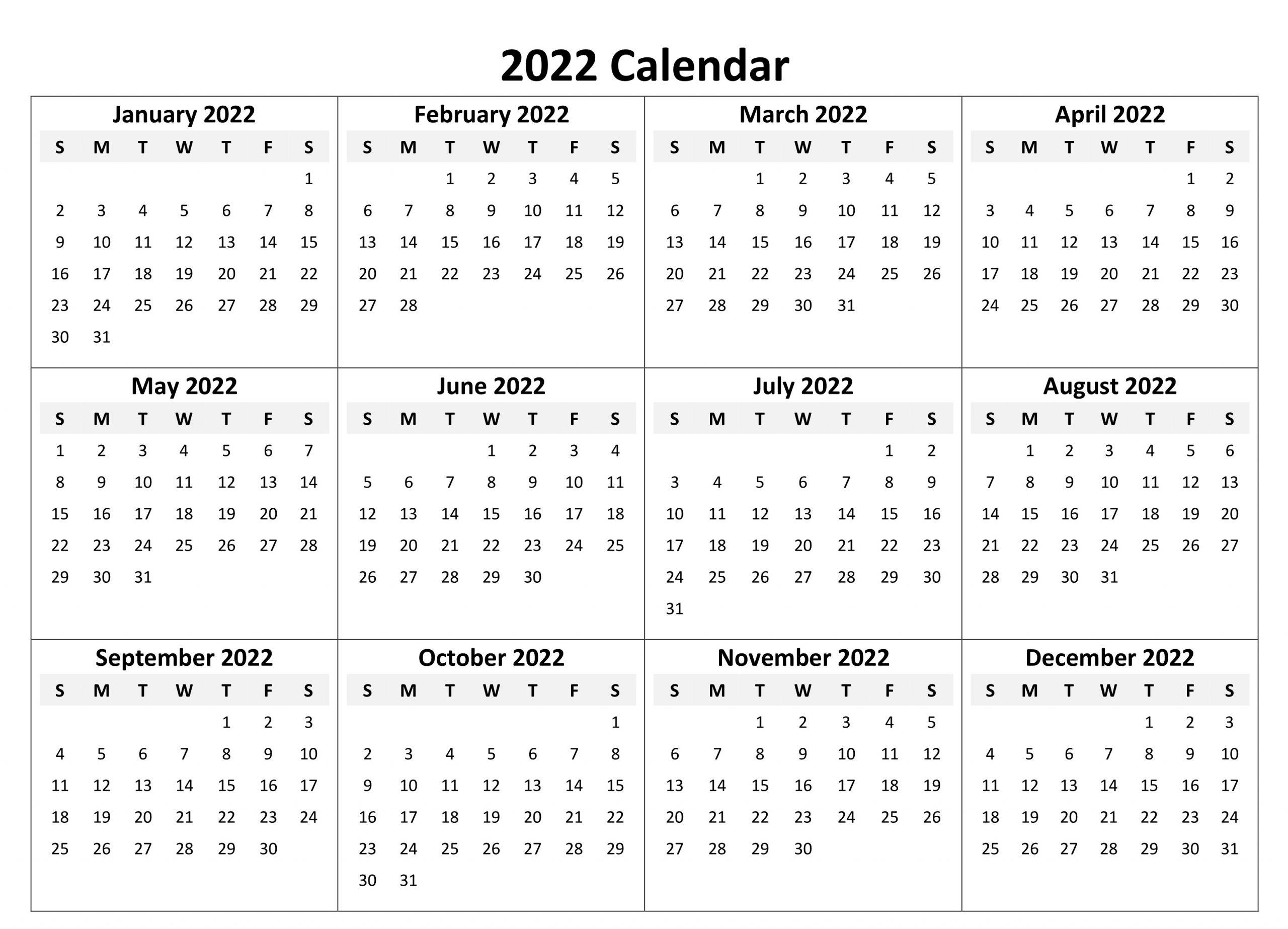 2022 Printable Calendar One Page Free