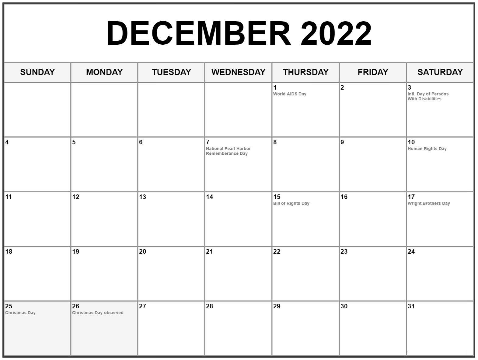 2022 Printable Calendar One Page Holidays