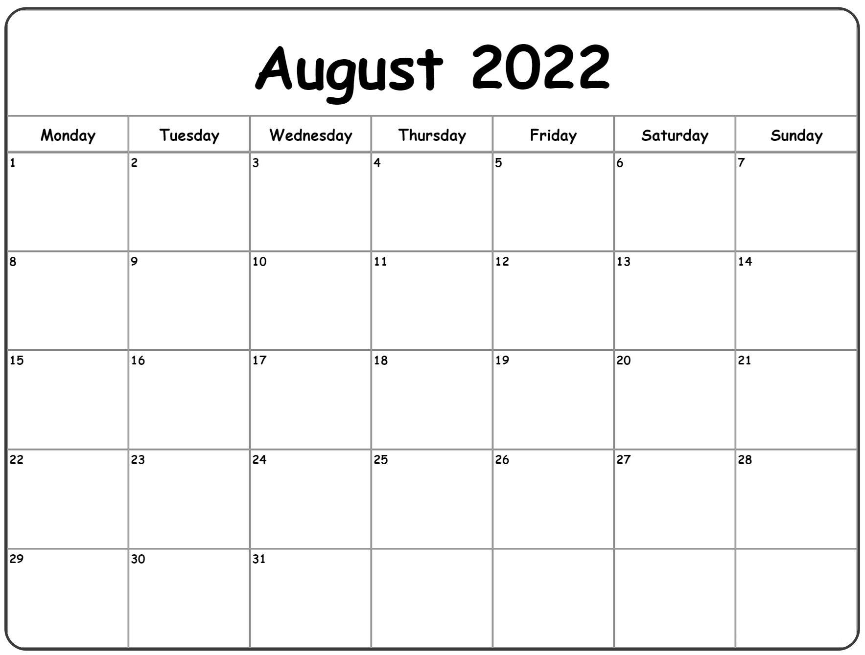 2022 Printable Calendar One Page UK