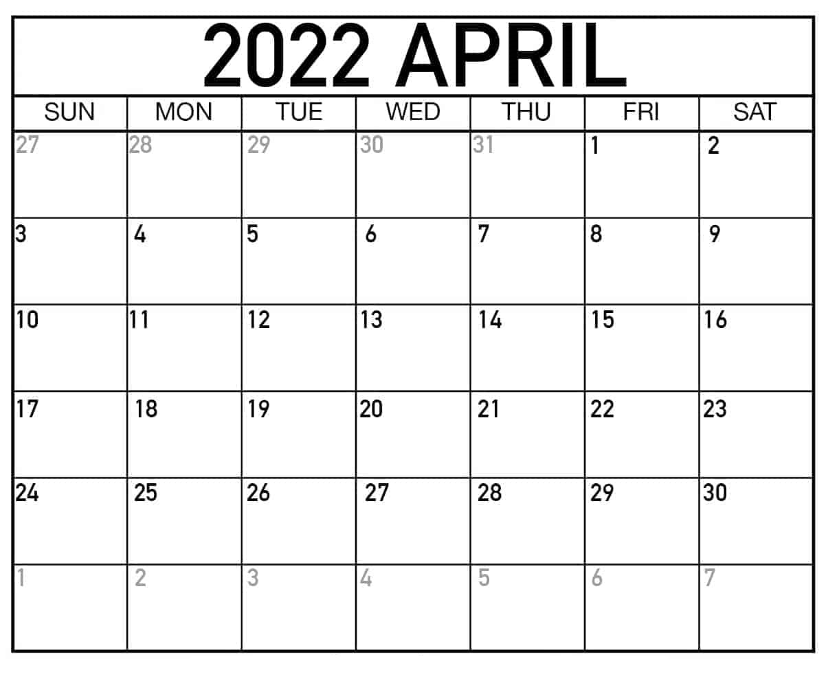 2022 Printable Calendar One Page Words