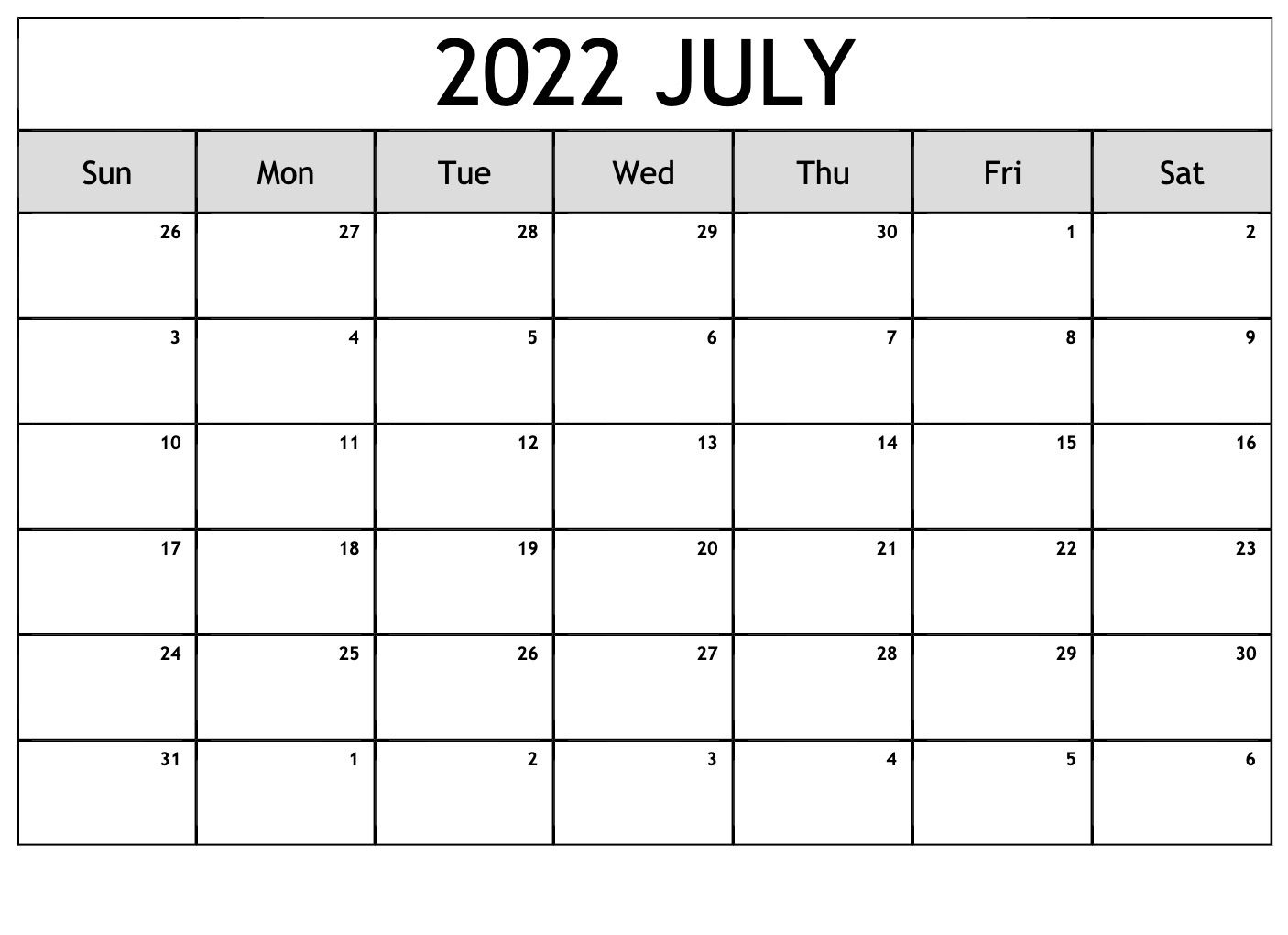 2022 Printable Calendar One Page per month
