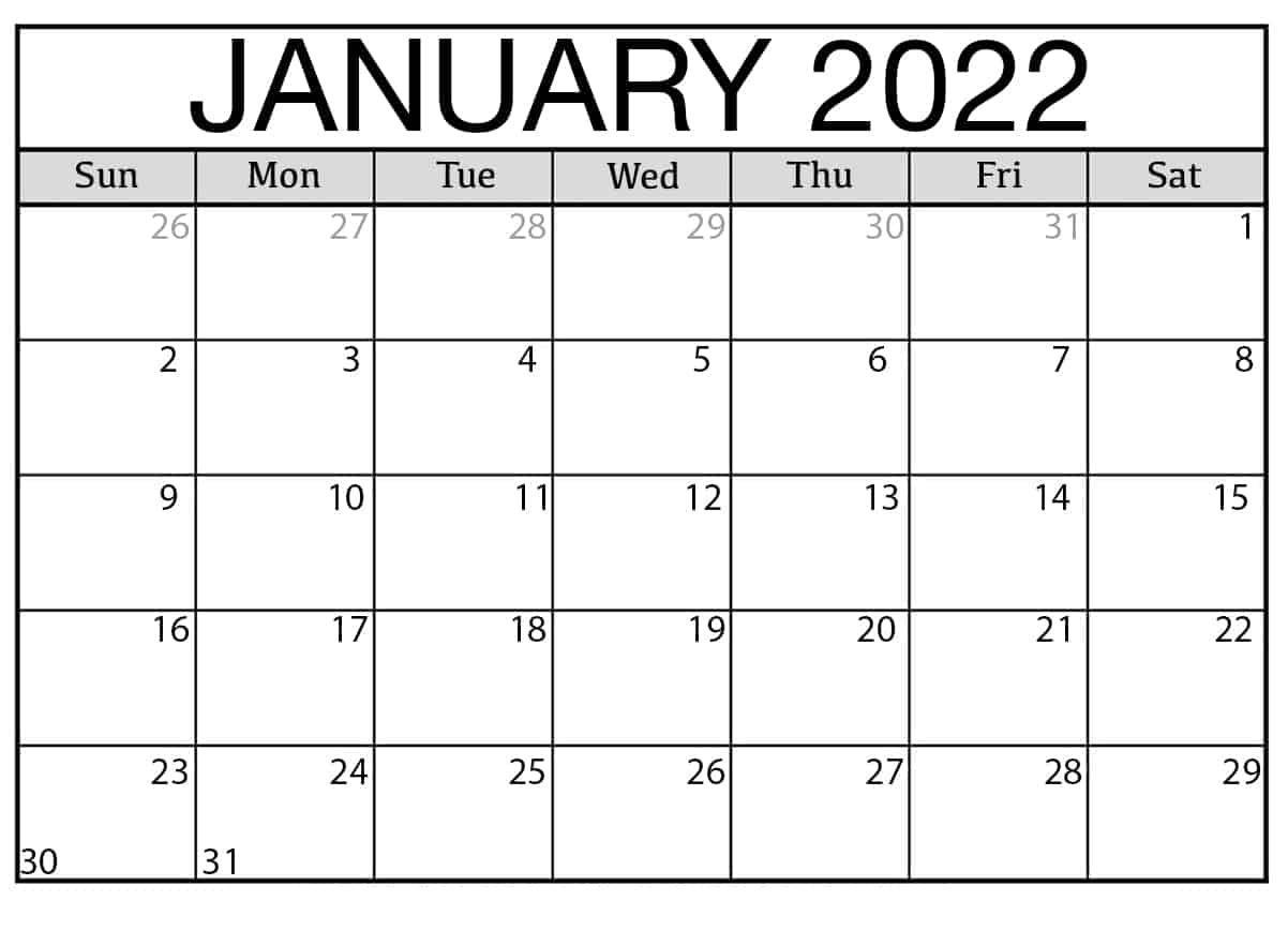 2022 Yearly Calendar Template