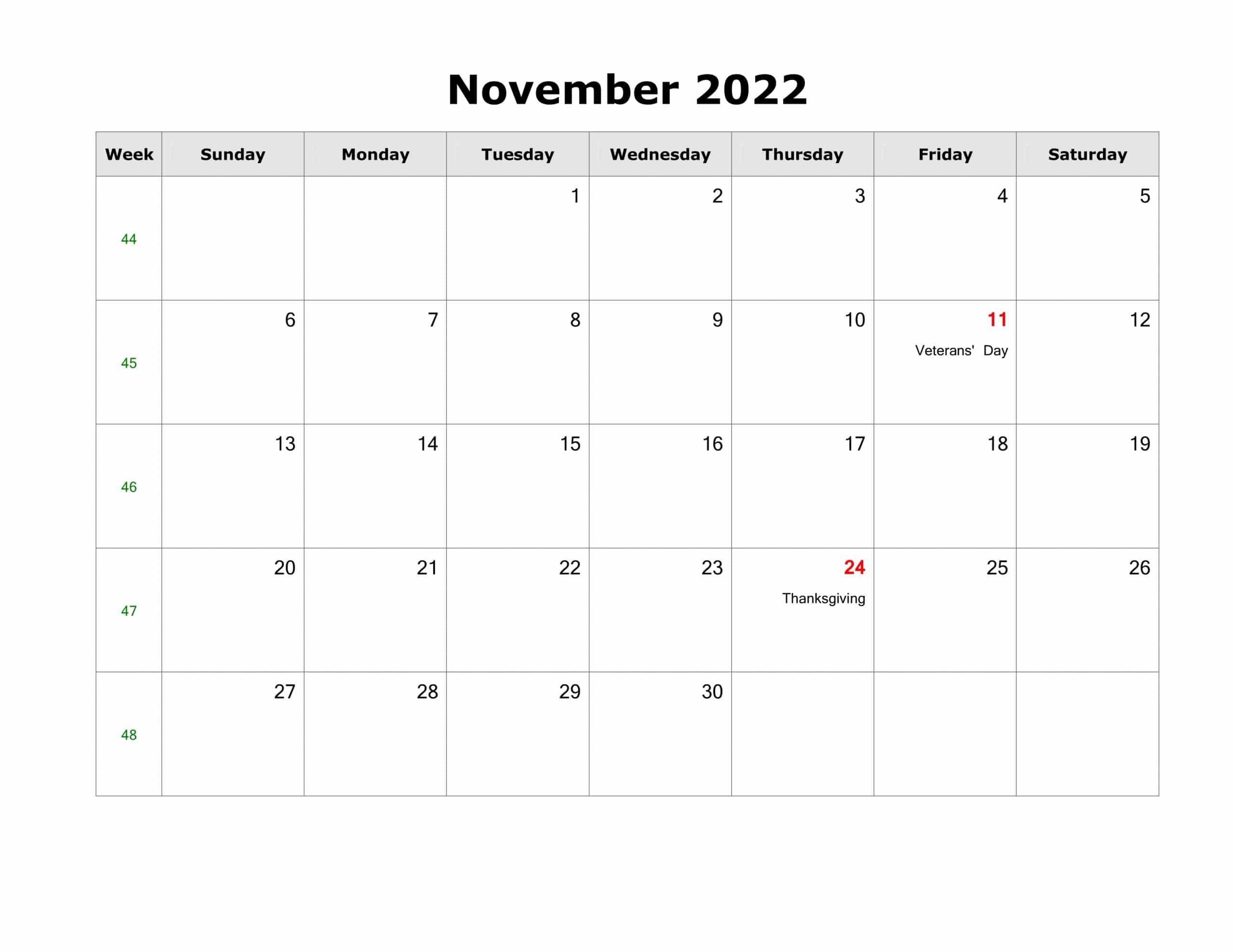 2022 calendar excel format