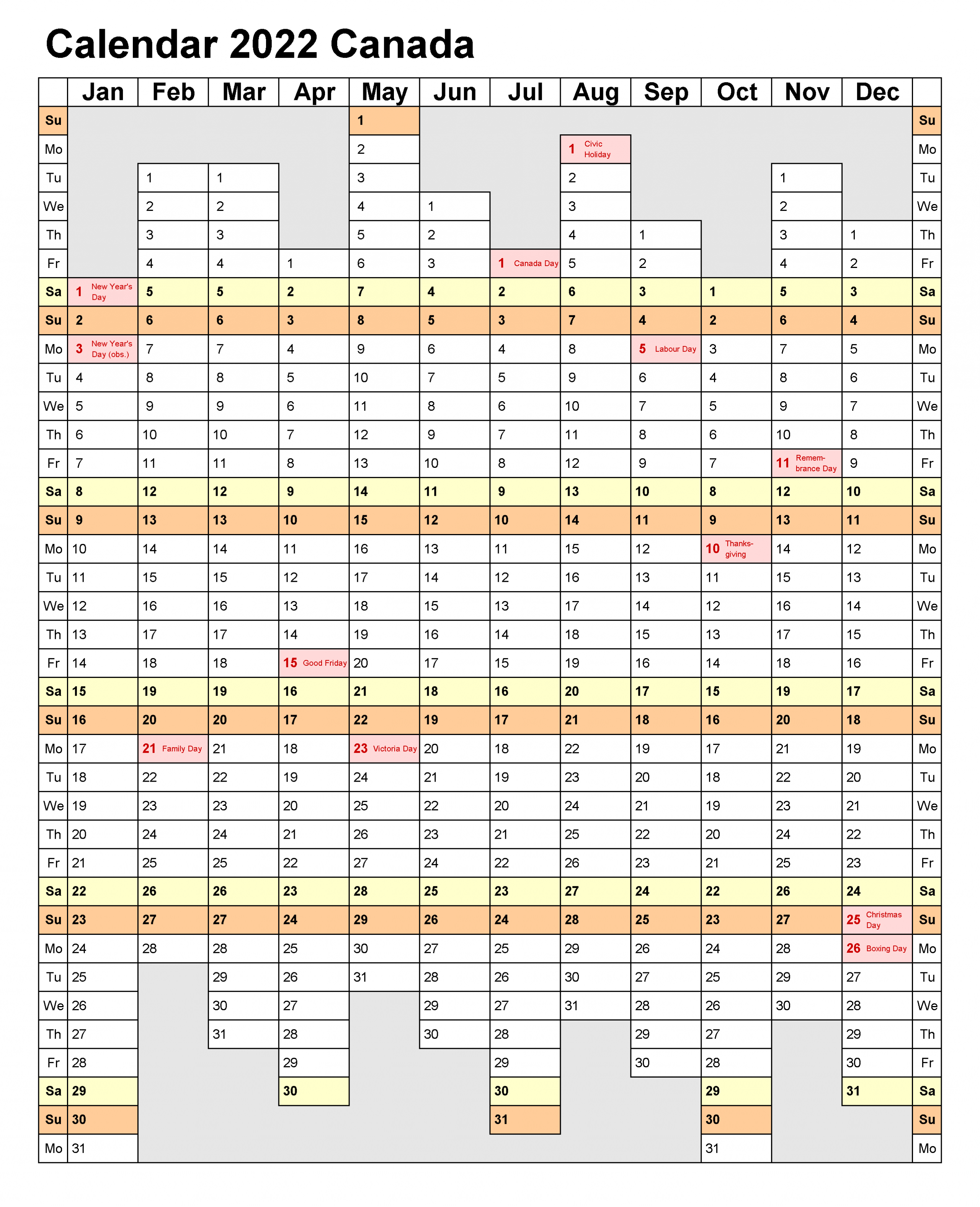 Free 2022 Calendar Template