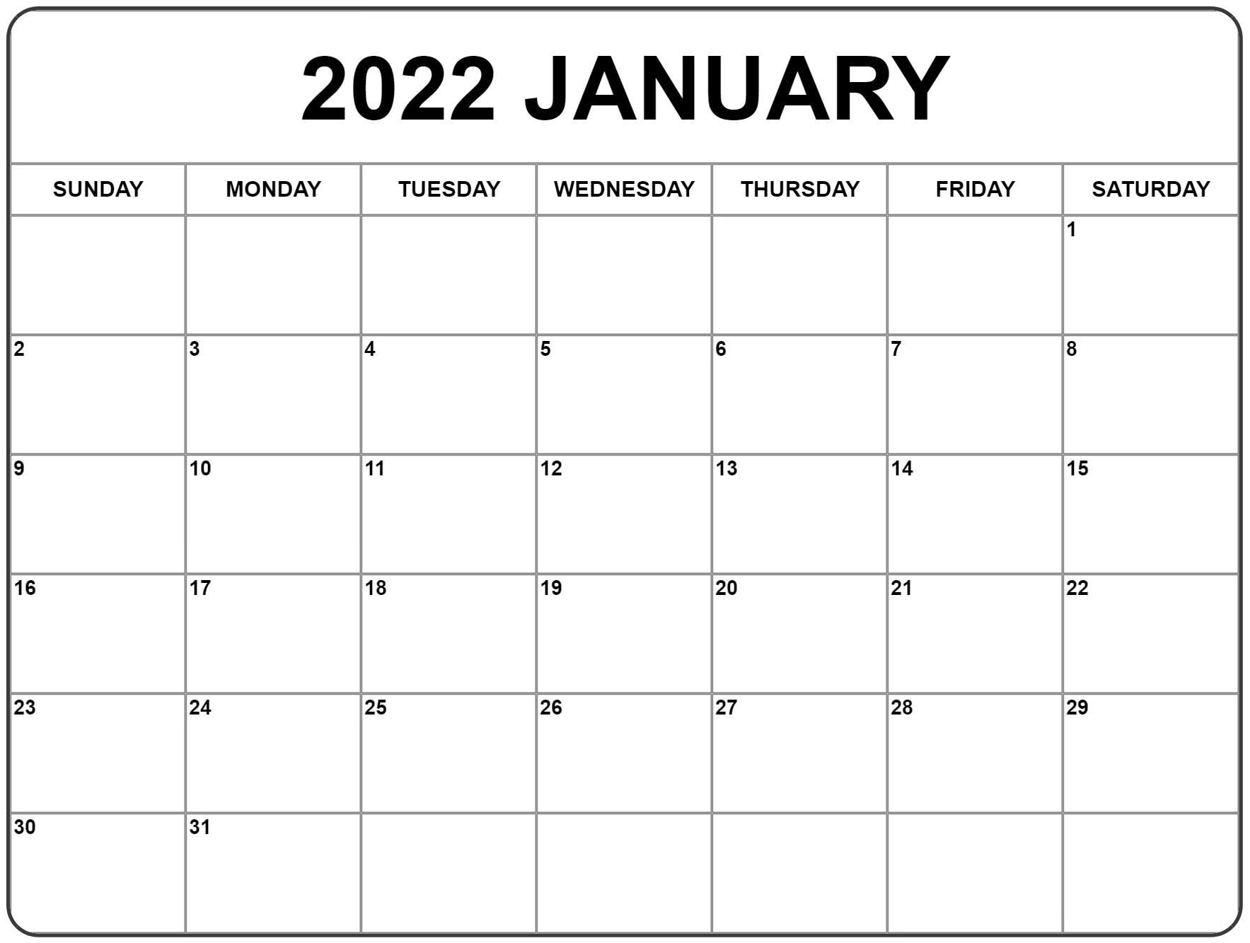 Free 2022 Printable Calendar One Page