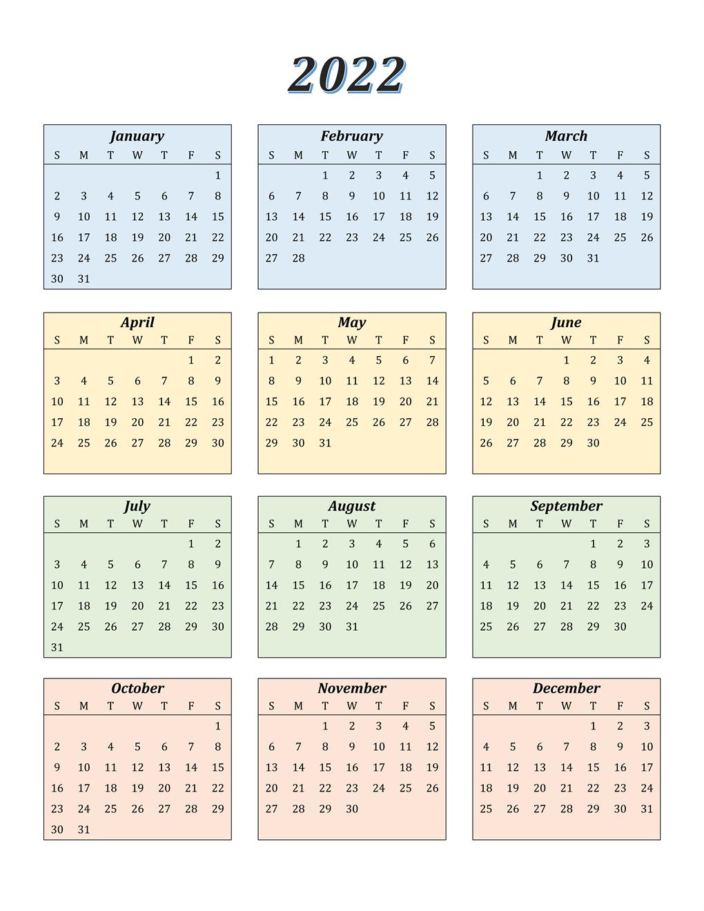 Google Sheet 2022 Calendar Template