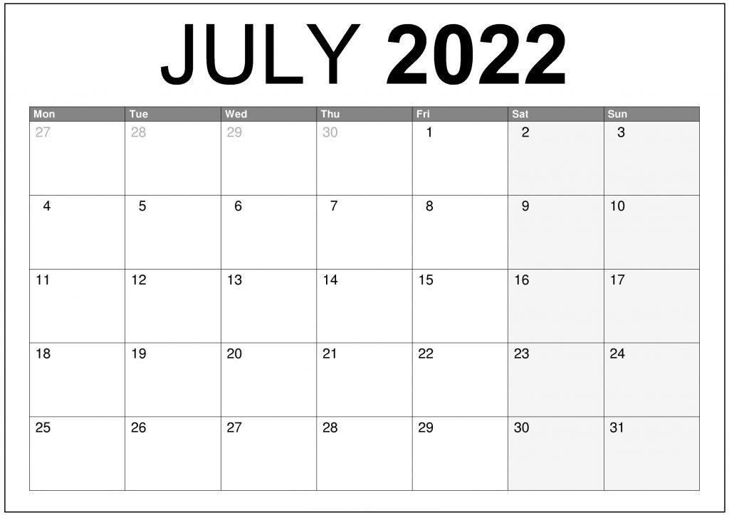 Printable 2022 Calendar Monday Start